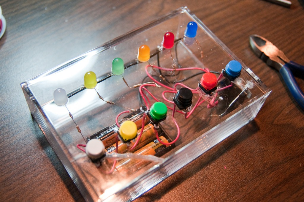 Completed LED Button box for Children