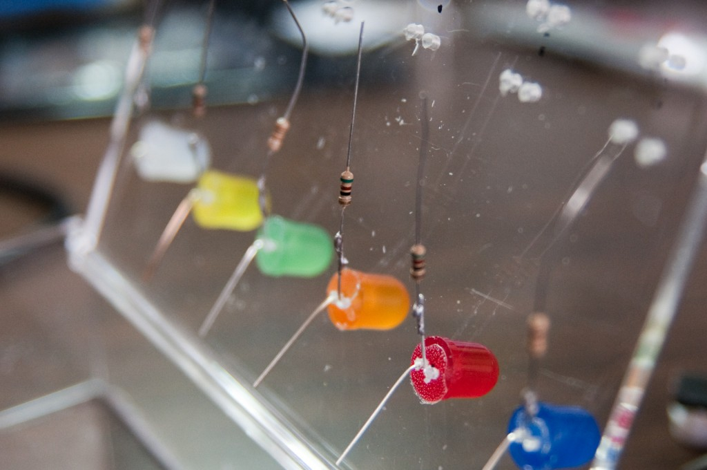 Resistors soldered to LEDs