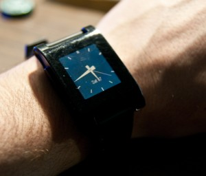 Pebble smart watch analog face